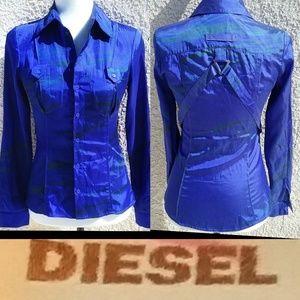Diesel Cotton Blend shirt green zebra stripes